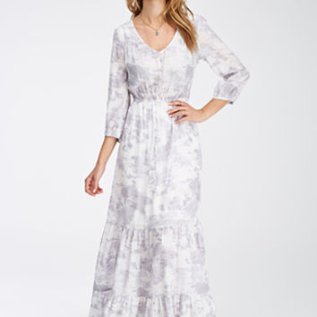 Cloud Print Surplice-Back Maxi Dress