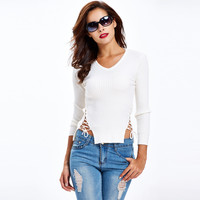 Lace Up Sides Long Sleeve V Neck Knitted Sweater in White