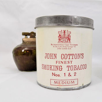 John Cotton's Smoking Tobacco Tin, Medium, Edinburgh Scotland, Vintage Tobacciana