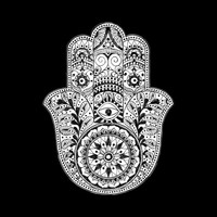 Hamsa Black & White Hand Eye Indian Buddha Ganesh Art Print by CPT HOME