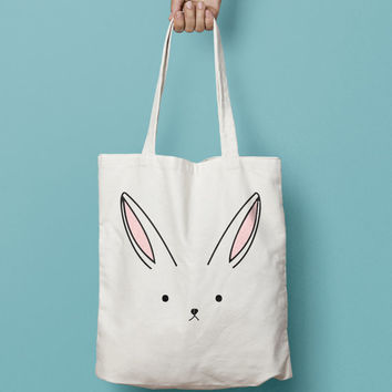 Bunny Rabbit Tote Bag Canvas Printed  , Market Bag, Cotton Tote Bag, Large Canvas Tote, Funny Grocery Bag, Designer Tote Bag canvas
