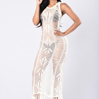 Malibu Beach Cover Up Dress - Ivory
