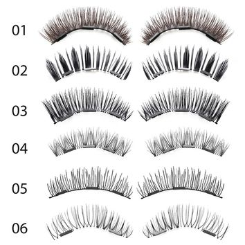 4 Pc Triple Magnetic 3D Natural False Eyelashes Diverse Styles Handmade Soft Full Stripe Magnet Eye Lashes Extension Makeup Tool