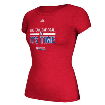 adidas Los Angeles Clippers Ladies One Team One Goal It's Time Playoffs Slogan T-Shirt - Red