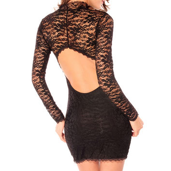 Lace Slim Halter Dress