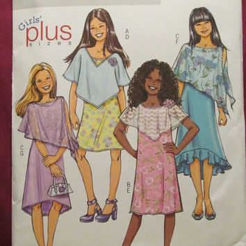 SALE Uncut Butterick Sewing Pattern, 4681! 3 Available Girls Plus Sizes 7-16 1/2, Summer/Spring Dresses, Ponchos/Dress Casual or Formal