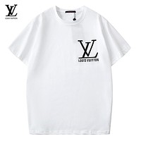 LV Summer New Fashion Embroidery Letter  Women Men Top T-Shirt White