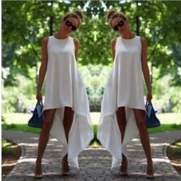Stylish Summer Sleeveless Round-neck White Irregular Prom Dress One Piece Dress [6049228737]