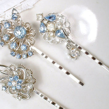 1 Something Blue & Clear Rhinestone Silver Vintage Bridal Hair Pin Light Powder Blue Bobby Hair Clip, Bridesmaid Jewelry Wedding Gift CHOICE