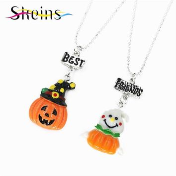 BFF Cartoon Halloween Party Jewelry 2pcs/Set Best Friends Charms Pumpkin Monster Devil Pendants friendship Kids Necklace Set