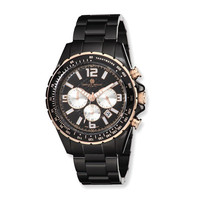 Charles Hubert Blk-Plated Stnless Stl Black Dial Chronograph Watch