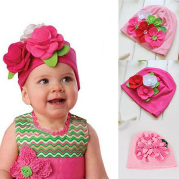 Nice Kids Baby Girls Lovely Headwear Big 3D Flower Beanies Cap Hats Photo Dress 3M-4Y Freeshipping