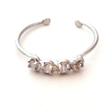Sterling Silver Toe/Midi Ring with CZ's