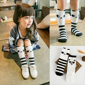 Bear Leader Girls Cartoon Socks 2017  Dog Pattern Black White Stripeds Girls Knee Socks Long Socks Over Knee Children's Socks