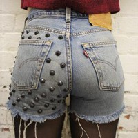 Vintage 90's studded denim shorts from ChasingTheDime