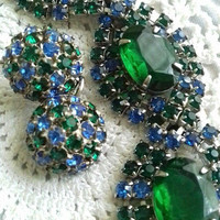 ON SALE Blue & Green Rhinestone Bracelet Earring Set Vintage High End Rare Hard To Find Demi Parure 1950's Costume Jewelry Collectible
