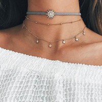 Personality Three Layer Sun Stars Clavicle Necklace 171120
