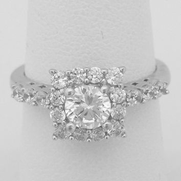 Square Halo with 1/2 Carat Cubic Zirconia Engagement Ring