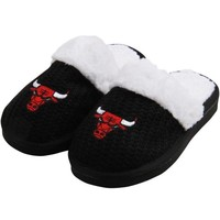 Chicago Bulls Ladies High-End Open Knit Slipper - Black