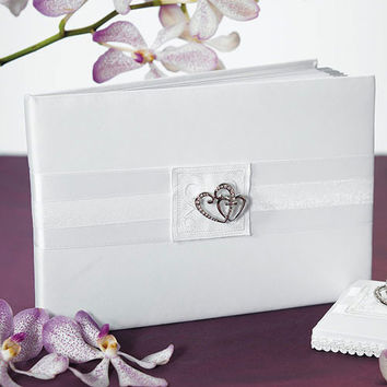 Classic Double Heart Traditional Guest Book Ivory