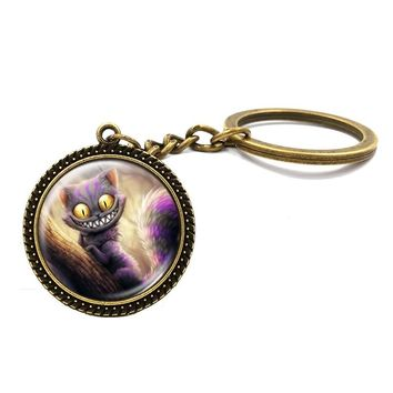 Alice in wonderland cheshire cat key chain handmade fashion jewelry bronze plated children gift 2017