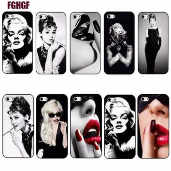 "Audrey Hepburn Tattooed Marilyn Monroe Quote Case for iPhone 8 x 7 7plus 5 5s 5c 6 6s plus 4.7"" 5.5 inch Mobile Phone Hard Cover"