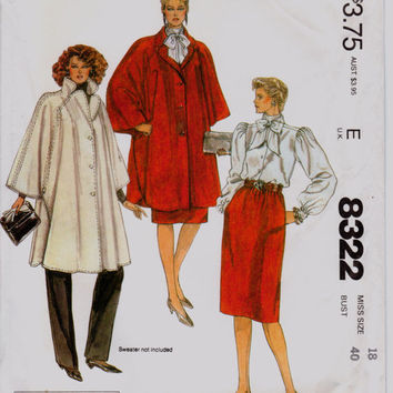 "Vintage 1980s Halston Poncho, Blouse, Skirt, Pants Sewing Pattern, McCall's 8322, Misses' Size 18 Bust 40"" (102cm), Free US Shipping"