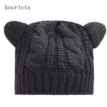 Women Funny Knitted Beanie Hat with Ears Ladies Winter Warm Cosplay Cap Black Red