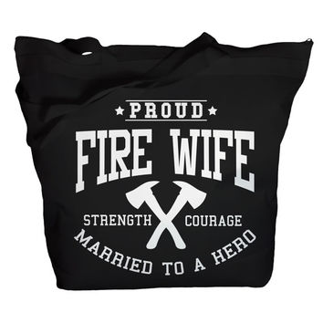 Tote Bag Proud Fire Wife Bags Married To Hero Totes Pride Bags Zip Top Zipper