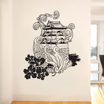 Traditional Japanese Building Over Cliff Wall Decal. #342