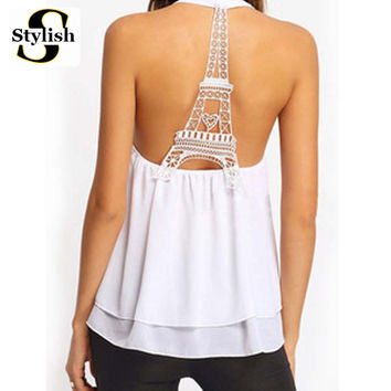 Eiffel Tower Tank Tops Women Sexy Sleeveless Backless Shirt Female 2017 Summer Halter Neck Chiffon Camis European Ladies Vest