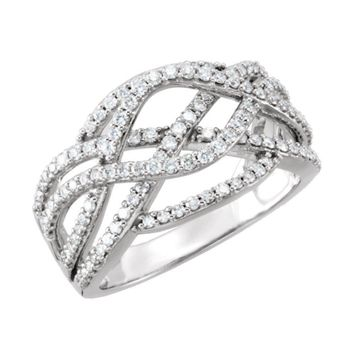14K White 3-4 CTW Diamond Criss-Cross Ring