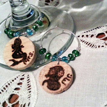 Mr and Mrs. Diver and Mermaid Cork Wine Charms, Diver Helmet Charm, Mermaid Cork Wine Charm, Mr.andMrs. Wine Charms, PDX Made, CorkyFriendz