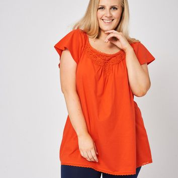 Embroidered Orange Top