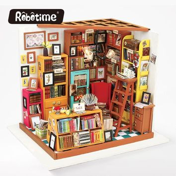 Robotime 3D Puzzle DIY New Arrival Wooden Decor Collection Wooden House Toys Creative Gift Sam's bookstore With LED Light DG102