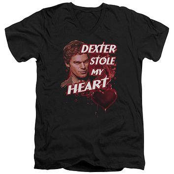 Dexter - Bloody Heart Short Sleeve Adult V Neck