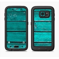 The Trendy Green Washed Wood Planks Full Body Samsung Galaxy S6 LifeProof Fre Case Skin Kit
