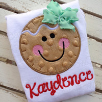 Gingerbread Bodysuit OR Shirt for Girls -- Gingerbread Smiles -- red and mint green -- Ginger wears her own bow