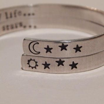 Moon Of My Life/my Sun And Stars Game Of Thrones Inspired Set Of Two Bracelets   Hand Stamped Aluminum