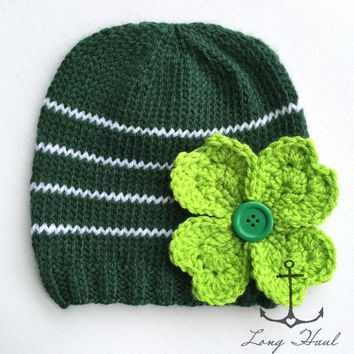 St. Patrick's Day Hat, Green, Clover, St. Patty's Day, Knit Hat, Knit Beanie, Handmade