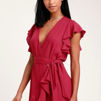 Sunny Days Ahead Magenta Ruffled Wrap Dress