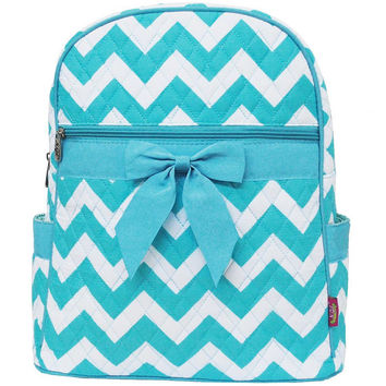 Personalized Light Blue/aqua and white Chevron Back pack/diaper bag