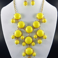 Yellow Bubble Necklace & Earring Set