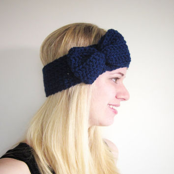 Crochet Bow Ear Warmer Headband in Sapphire Blue