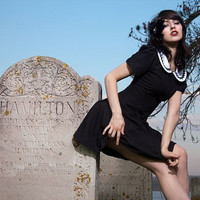 Gothic Lolita A line Black Dress Short Dress with Cap Sleeves and White Peter Pan Collar size 2 4 6 8 10 or 12