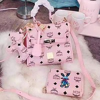 MCM Trending Women Handbag Shoulder Bag Wallet Purse Pendant Set Three Piece Pink
