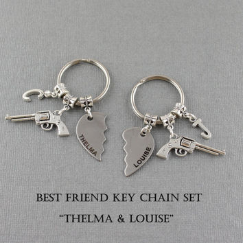 Thelma and Louise Keychain Set - Best Friend Keychain Set - Best Bitches - Personlaized key Rings Cute Gift For Best Friend