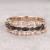 Diamond Wedding Set Marquise Bridal Ring 14k Rose/Yellow/White Gold Half Eternity Band