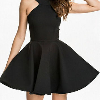 Black Backless Sleeveless Dress