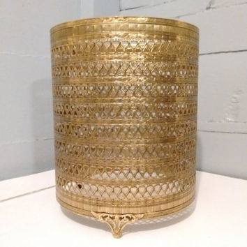 Waste Paper Basket Cover, Metal, Footed, Gold, Decorative, Trash Can Cover, Vintage, Mid Century Modern, Hollywood Regency